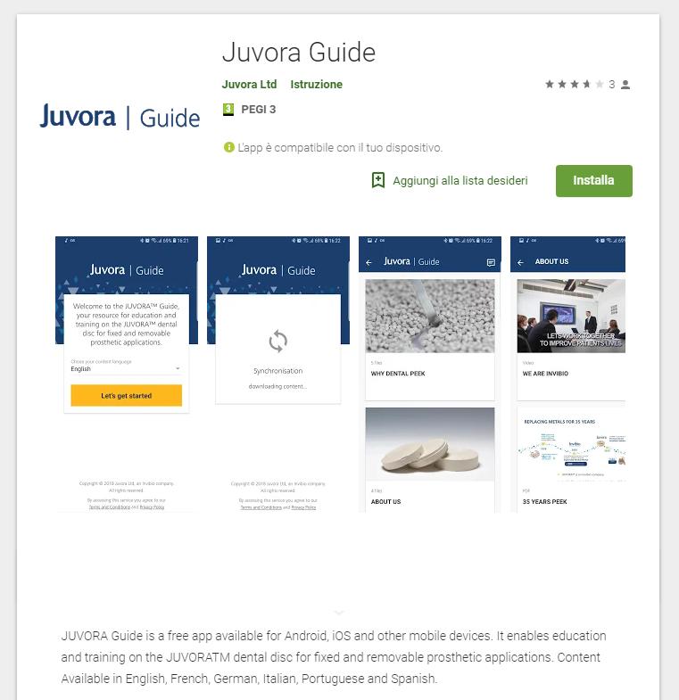 Anteprima App Juvora Guide